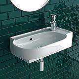 bad1a Handwaschbecken mit Überlauf Waschtisch Weiß Keramik Waschbecken Badezimmer