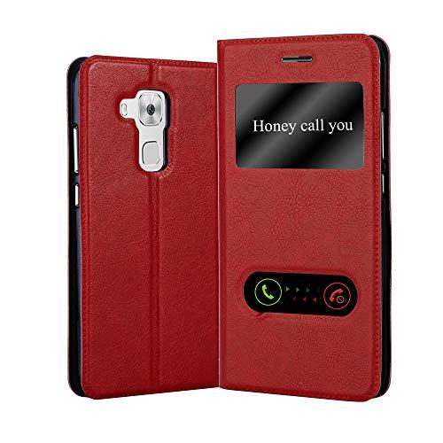 Cadorabo Hülle für Huawei NOVA Plus - Hülle in Safran ROT – Handyhülle im Standfunktion und 2 Fenstern (View Design) - Case Cover Schutzhülle Etui Tasche Book Klapp Style
