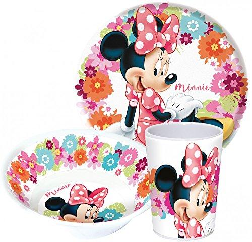 Disney Minnie Maus Kinderservice mit Teller, Müslischüssel und Trinkbecher aus Melamin Frühstück Becher-set
