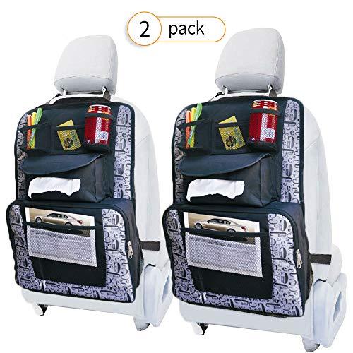 Arkmiido Auto Rückenlehnenschutz(2 Stück), Auto Rücksitz-Organizer Kick-Matten-Schutz für Kinder,Autositz-Schoner Utensilientasche ,Isolationstasche mit großem Fassungsvermögen