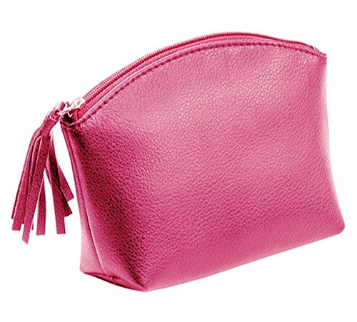 Alassio Kosmetiktasche aus echtem Leder, mit Reißverschluss und Lederzipper, ca. 15,5 x 11 x 5,5 cm Handtaschenhalter, 16 cm, Rosa