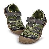 UOVO Jungen Sandalen Trekking Wandern Kinder Sandalen Outdoor Geschlossene Zehe Sandalen Sportliche Sommerschuhe Grün 30