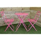 SupaGarden 3 Piece Pink Metal Folding Bistro Set #CSFB150