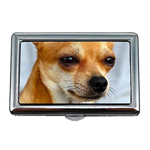 Scatola portasigarette, Cucciolo di cane Chihuahua Simpatico animale domestico Breed0, Porta biglietti da visita Porta biglietti da visita in acciaio inossidabile