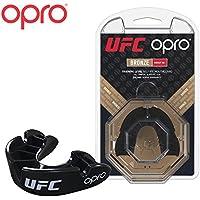 OPRO Protector bucal UFC Adulto para MMA, Boxeo, BJJ, Karate y Otros Deportes de Combate - 18 Meses de garantía Dental (Negro, Nivel de Protección: Bronce)