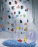 Spirella Fish PEVA Clear Plastic Shower Curtain, 180 x 200 cm, Blue/ Orange/ Yellow/ Black/ Green