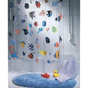 This item Spirella Fish PEVA Clear Plastic Shower Curtain  180 x 200 cm   Blue  Orange  Yellow  Black  GreenSpirella Fish PEVA Clear Plastic Shower Curtain  180 x 200 cm  . Orange And Black Shower Curtain. Home Design Ideas