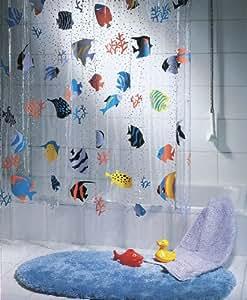 "Spirella 10.21960 Duschvorhang ""Fish Multicolor"", vinyl, B x H: 180 cm x 200 cm"