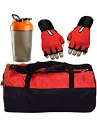 CP Bigbasket Combo Set Polyester Red Sport Gym Duffle Bag Shoe Compartmen, Gym Shaker (400 Ml), Netted Gym & Fitness... - B077QXWBWY
