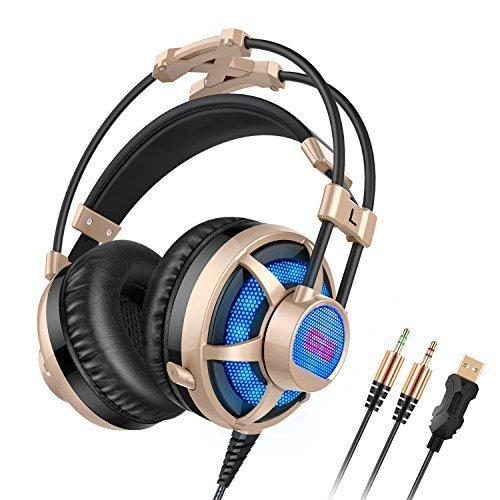 Gaming Headset, Honstek G6 Pro PC Vibration Gaming Kopfhörer, Stereo Surround Sound Über-Ohr Kopfhörer für Komputer/Laptop, Freie fahrt Günstig mit Micro, Volumen & Kontrolle, LED Aufhellen, Zwei 3,5-mm-Buchsen & USB-Stecker (Schwarz/Gold)