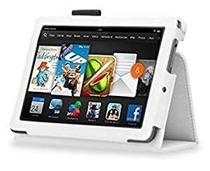 InventCase Amazon Kindle Fire HD 7 Tablet (3rd Generation - 7-Inch) 2013 Smart Multi-Functional PU Leather 2-Fold Case Cover with Sleep Wake Function - White