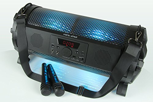 Vocal-Star Portable Bluetooth Karaoke Machine Speaker With Led Disco Light Effects & 2 Microphones