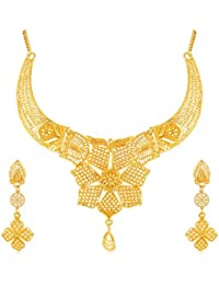 Apara Gold Plated Traditional Choker Necklace Earring One Gram Jewellery Set for Girls/Women