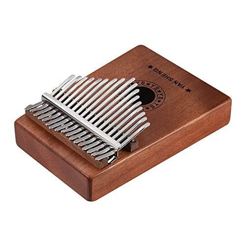 Youtaimei Zufriedenstellendes Produkt 17 Key Thumb Klavier und Melodie Hammer, tragbare Mahagoni-Körper-Finger-Piano-Kit, perfektes Festival Geschenk für Kinder Erwachsene (Farbe: Holz)