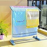 #8: Getko Stainless Steel Portable Floor Clothes Drying Rack Dryer Hanger Nappies, Undergarments, Towels Rack, Mobile Towel Rack