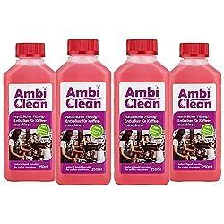 AmbiClean® Flüssig-Entkalker für Kaffeevollautomat, Kaffee-Maschine, Wasserkocher etc. | 100% Biologischer Kalk-Reiniger - 4 x 250ml