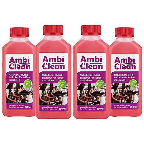 AmbiClean® Flüssig-Entkalker für Kaffeevollautomat, Kaffee-Maschine, Wasserkocher etc. | 100% Natürlicher Kalk-Reiniger - 4 x 250ml