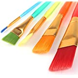 crafto Set of 5 Different Sizes Synthetic Flat Paint Brush for Oil, Acrylic Paintings – Painting Art Accessories