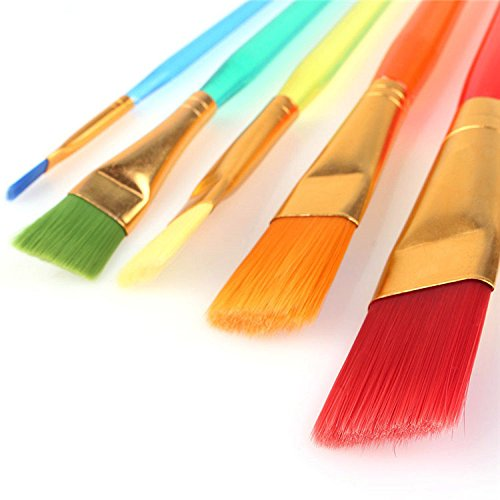 crafto Set of 5 Different Sizes Synthetic Flat Paint Brush for Oil, Acrylic Paintings – Painting Art Accessories  available at amazon for Rs.180