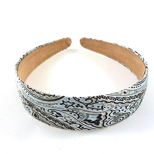 rougecaramel - Accessoires cheveux - Serre tête/headband large imprimé largeur 3cm - gris