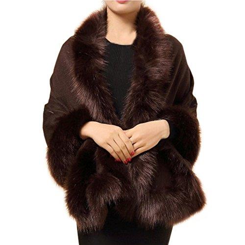 Teenloveme Cappotto Di Pelliccia di inverno per le Donne, Donna Mantelli Cappotti Poncho e Mantelle Soprabito