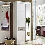 e-combuy Möbel Garderobenschrank in Pinie hell/taupe, 1 Spiegeltür, 1 Holztür, 5 Einlegeböden, 1 ausziehbare Kleiderstange, Breite 90cm, Höhe 208 cm, Tiefe 42 cm