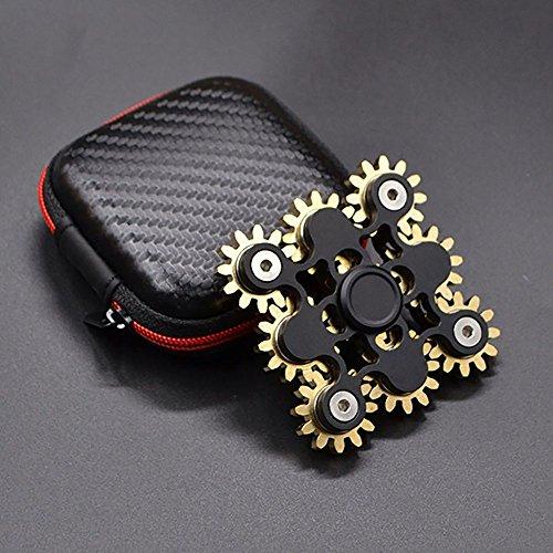 Preisvergleich Produktbild Neue Version Hand Spinner, 9 Zahnräder dauerhaft und stabil nervös spinnere aus Edelstahl und Kupfer (Schwarz)