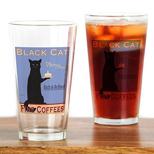 CafePress-Schwarz Katze Kaffee-Pint-Glas, 16oz Trinkglas farblos