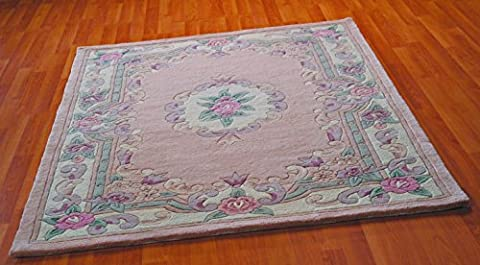 Large Traditional Original Classic Aubusson Floral 100% Wool Hand Tufted Chinese Rug, Fawn -150 x