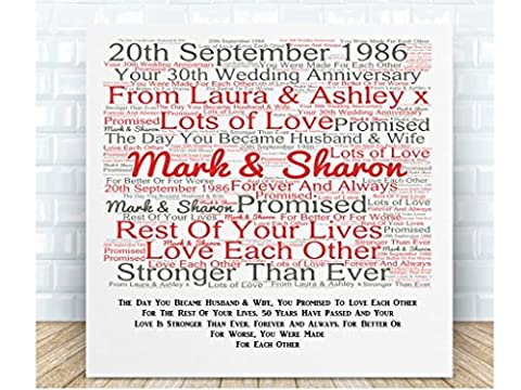 Personalised Your 30th Wedding Anniversary Word Art Poem Ceramic Plaque. Boxed. Personalised details