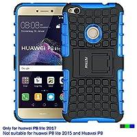 Huawei P8 Lite 2017 Hülle , Huawei P8 Lite 2017 Case , Fetrim Silikon TPU plastik Schlank Schutzhülle Handyhülle Stoßfest Schutz Etui handy Doppelstruktur fall Harte Rüstung cover schale für Huawei P8 Lite 2017 mit Ständer - Blau