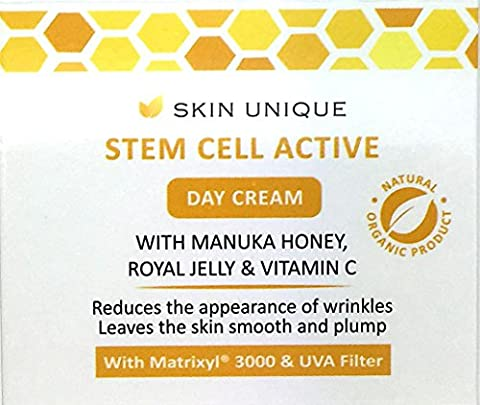 Stem Cell Active Day Cream 50 ml - Natural & Organic anti-ageing facial moisturiser and wrinkle filler with UVA Filter, Manuka Honey, Royal Jelly and Matrixyl 3000