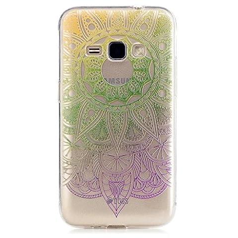 MUTOUREN Cas pour Samsung Galaxy J1 (2016) 120F Coque Transparente de Illustration Originale en TPU Souple Case Cover Coque Housse de protection Shell avec mince motif imprimé - Indian Tournesol Bleu