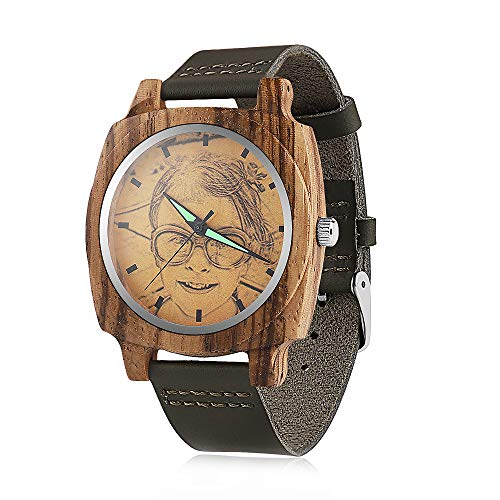 Herrenuhr aus Holz mit Foto oder Nachricht beidseitiger Gravur für Personalisiertes leichte handgefertigte Lederband-Armbanduhr