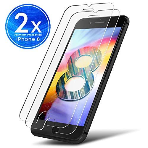 UTECTION 2X Schutzglas Folie für Apple iPhone 8 - Schutzfolie aus Glas gegen Displayschäden - Passgenaue Schutzglasfolie Anti Kratzer - Displayschutzfolie Clear Durchsichtig -