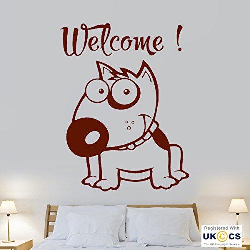 Willkommen Cartoon Bull Dog Pet kühlen Halle Porch Wall Art Aufkleber Aufkleber Vinyl-Raum Schlafzimmer Jungen Mädchen Kinder Erwachsene Heim Wohnzimmer Küche Badezimmer Wandaufkleber Zitate (Drucken Bull Leinwand)