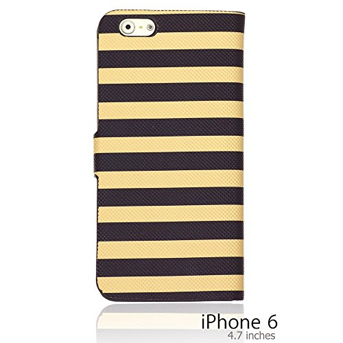 OnlineBestDigital - Striped Style PU Leather Wallet Flip Stand Case / Housse pour Apple iPhone 6 (4.7 inch)Smartphone - Rouge avec 3 Film de Protection Brun