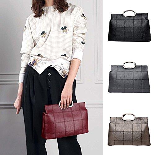 Bluelans griglia in ecopelle borsa a tracolla messenger bag borsa a tracolla da donna, Black, 35cm x 14cm x 23cm/13.78 x 5.51 x 9.06 Champagne