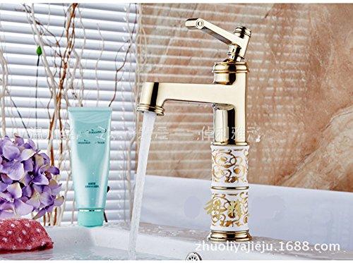 Les robinets plaqués or européen peinture antique robinet robinet robinet de lavabo en porcelaine blanc antique parsemé de fleurs