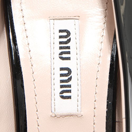 86318 decollete spuntata MIU MIU VERNICE 7 scarpa donna shoes women Nero
