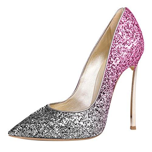 Damen Große Größe Pumps Spitze Zehen High-Heels Stiletto Rutsch Hochzeit Party Gradients-Violett