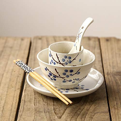 Bol Glaçure de vaisselle unique de style japonais sous la couleur de l'ensemble en céramique de bol de nouilles de riz de table à la maison d'hôtel -5 couleurs facultatives (Couleur : Blue plum)