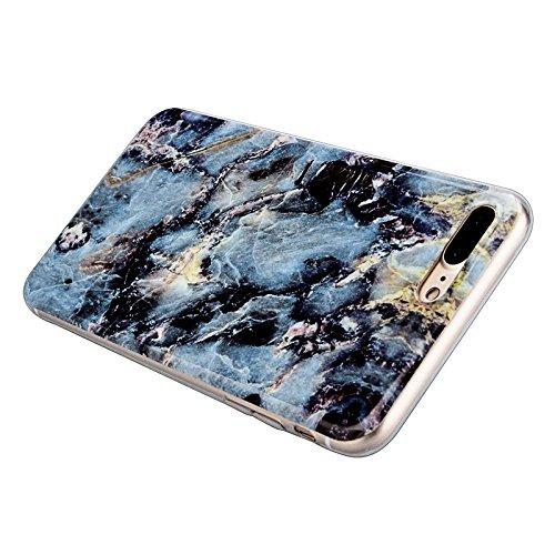 iPhone 7 Hülle, Yokata Marmor Gradient Edelstein Farbe Case Soft Flexible Weich TPU Silikon Gel Backcover Schutzhülle Cover Skin Schutz Schale Protective Cover + Stylus Pen x 1 - Lila Blau