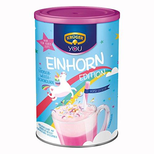 Krüger You Einhorn Edition, Typ Erdbeer-Weiße-Schokolade, Trinkschokolade, Getränkepulver, Schokogetränk, Kakao, 6 x 300g