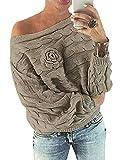 YOINS Schulterfrei Oberteile Damen Herbst Winter Off Shoulder Pullover Pulli für Damen Loose Fit mit Blumenmuster Khaki XS