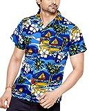 CLUB CUBANA Camicia da Uomo Hawaiana Floreale Classica Casual a Maniche Corte Slim Fit XXL