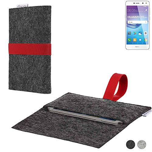 flat.design Handy Hülle Aveiro für Huawei Y6 2017 Single SIM passgenaue Filz Tasche Case Sleeve Made in Germany