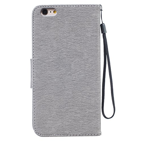 Custodia iPhone 6 Plus, ISAKEN Custodia iPhone 6S Plus, iPhone 6 Plus Flip Cover con Strap, Elegante borsa Tinta Unita Piuma Design in Sintetica Ecopelle PU Pelle Protettiva Portafoglio Case Cover per Piuma: grigio