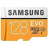 Samsung MicroSDXC EVO - Tarjeta de Memoria (MicroSDXC EVO, 128 GB, MicroSDXC, Clase 10, 100 MB/s, UHS-I, IPX7), Naranja/Blanc