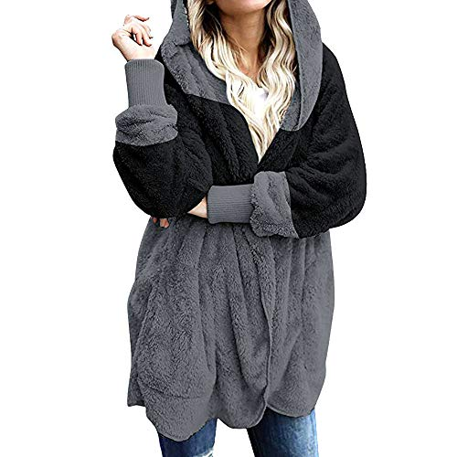 BaZhaHei Giacca Donna,Donna Cappotto Peluche Elegante Casual Moda Cardigan Donna Invernale Lana Autunno Cappotto con Cappuccio Taglie Forti-Alta qualità Top